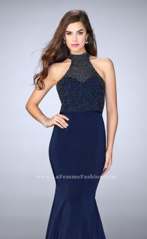 Picture of: Jersey Mermaid Gown with a High Neck Beaded Top in Blue, Style: 24266, Main Picture