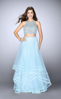 Picture of: Long Two Piece A-line Dress with Tiered Tulle Skirt in Blue, Style: 24268, Main Picture