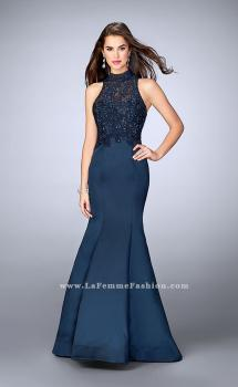 Picture of: Long Lace Mermaid Dress with Sheer Back in Blue, Style: 24271, Main Picture