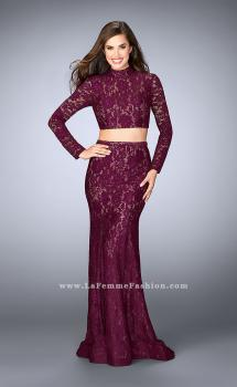 Picture of: Long Sleeve Two Piece Lace Dress with Open Back, Style: 24272, Main Picture