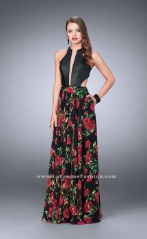 Picture of: Floral A-line Dress with Vegan Leather Top and Pockets, Style: 24273, Main Picture