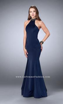 Picture of: High Neck Jersey Dress with a Cut Out Beaded Back in Blue, Style: 24277, Main Picture