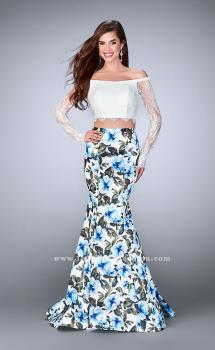 Picture of: Off the Shoulder Floral Two Piece Prom Gown in Print, Style: 24281, Main Picture
