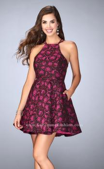 Picture of: Short Rose Print Dress with Pockets and Flared Skirt, Style: 24283, Main Picture
