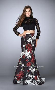 Picture of: Two Piece Prom Dress with Lace Top and Mermaid Skirt in Print, Style: 24285, Main Picture