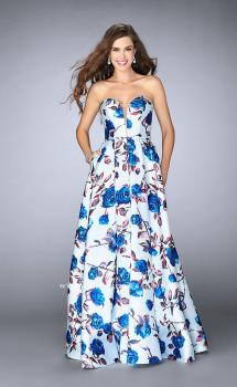 Picture of: Floral A-line Mikado Dress with a Deep V Neckline, Style: 24286, Main Picture