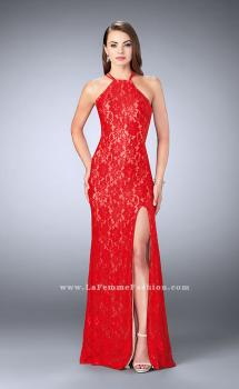 Picture of: Lace Prom Dress with Strappy Back and Side Slit in Red, Style: 24293, Main Picture