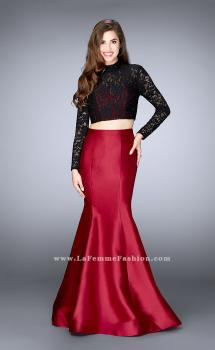 Picture of: Two Piece Mermaid Dress with Long Sleeve Lace Top in Red, Style: 24302, Main Picture