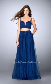Picture of: Two Piece A-line Prom Dress with Beaded Tulle Skirt in Blue, Style: 24304, Main Picture