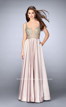 Picture of: Satin A-line Dress with Beaded Top and Deep V Neckline in Nude, Style: 24305, Main Picture