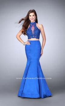 Picture of: Two Piece Mermaid Dress with Sheer Lace High Neck Top in Blue, Style: 24306, Main Picture