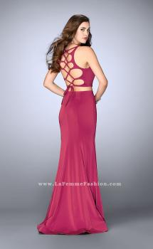 Picture of: Two Piece Prom Dress with Lace Up Back in Pink, Style: 24310, Main Picture