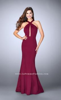 Picture of: Long Neoprene Prom Dress with Low Back in Red, Style: 24313, Main Picture