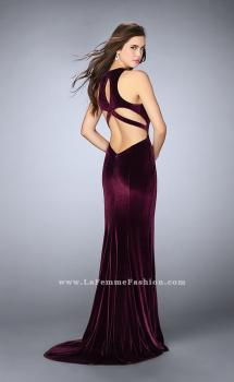 Picture of: High Neck Velvet Prom Dress with Cut Out Open Back in Red, Style: 24316, Main Picture