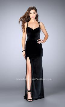 Picture of: Fitted Velvet Prom Dress with Strappy Open Back in Black, Style: 24317, Main Picture
