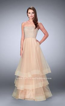Picture of: A-line Dress with Beading and Layered Tulle Skirt in Nude, Style: 24323, Main Picture