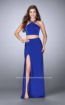 Picture of: Two Piece Jersey Dress with Strappy Lower Back in Blue, Style: 24324, Main Picture