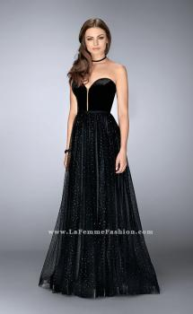 Picture of: Strapless A-line Dress with Polka Dot Sparkly Tulle Skirt in Black, Style: 24336, Main Picture