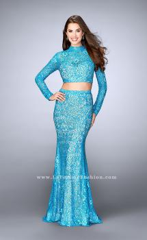 Picture of: Two Piece Lace Dress with Long Sleeves and Open Back in Blue, Style: 24342, Main Picture