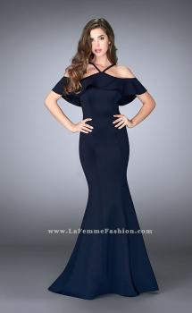 Picture of: Neoprene Ruffle Prom Dress with Mermaid Skirt, Style: 24344, Main Picture