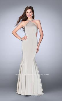 Picture of: High Neck Dress with Beaded Neckline and Strappy Back in Silver, Style: 24352, Main Picture