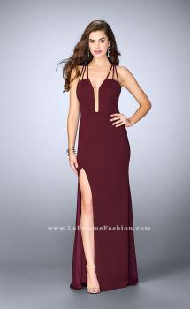 Picture of: Strappy Prom Gown with Deep Neckline and Side Slit in Red, Style: 24355, Main Picture
