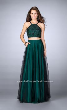 Picture of: Two Piece A-line Dress with Lace Top and Tulle Skirt in Green, Style: 24365, Main Picture