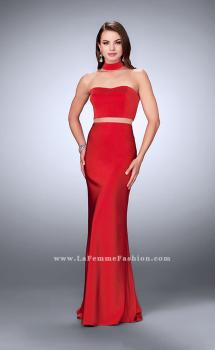 Picture of: Illusion Two Piece Prom Dress with Attached Choker in Red, Style: 24379, Main Picture