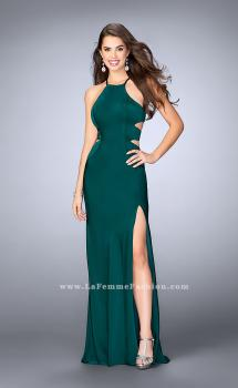 Picture of: Long Jersey Prom Dress with Cut Outs and Strappy Back, Style: 24380, Main Picture