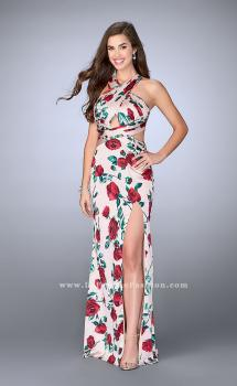 Picture of: Rose Printed Long Satin Prom Dress with Strappy Back in Print, Style: 24382, Main Picture