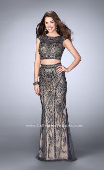 Picture of: Beaded Two Piece Dress with Lace and Cap Sleeves in Silver, Style: 24386, Main Picture