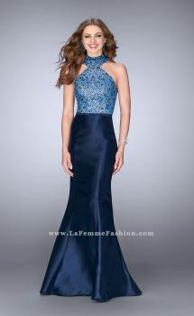 Picture of: Mikado Prom Dress with Open Back and Belt in Blue, Style: 24393, Main Picture