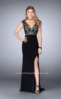 Picture of: Long Cap Sleeved Prom Dress with Front Slit in Black, Style: 24406, Main Picture