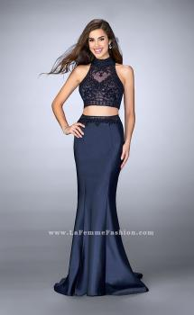 Picture of: Two Piece Mermaid Dress with Sheer Lace Top and Belt in Blue, Style: 24408, Main Picture
