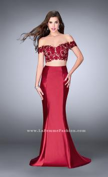Picture of: Two Piece off the Shoulder Prom Dress with Lace Detail in Red, Style: 24413, Main Picture
