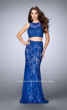 Picture of: Lace Prom Dress with Illusion Neckline and Pockets in Blue, Style: 24418, Main Picture
