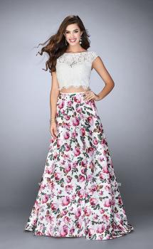 Picture of: Long A-line Two Piece Prom Dress with Floral Skirt in Print, Style: 24428, Main Picture