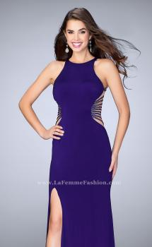 Picture of: Fitted Prom Dress with Strappy Sides and High Neckline in Purple, Style: 24432, Main Picture