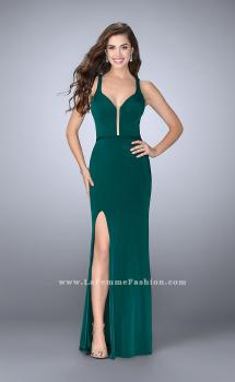 Picture of: Fitted Prom Dress with Deep Neckline and Strappy Back in Green, Style: 24437, Main Picture