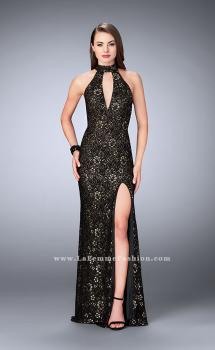 Picture of: Lace Prom Dress with Large Keyhole and Open Back in Black, Style: 24439, Main Picture