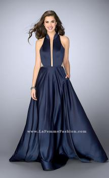 Picture of: Satin A-line Dress with Mandarin Collar and Pockets in Blue, Style: 24447, Main Picture