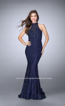 Picture of: High Neck Lace Mermaid Prom Dress with Open Back in Blue, Style: 24451, Main Picture