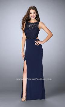 Picture of: Jersey Prom Dress with Lace Top and Cut Out Open Back in Blue, Style: 24484, Main Picture