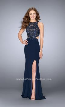 Picture of: Jersey Prom Dress with Embroidered Lace Top in Blue, Style: 24486, Main Picture
