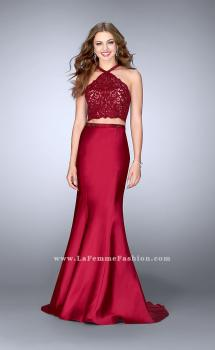 Picture of: Long Mermaid Prom Dress with a High Neck Lace Top in Red, Style: 24491, Main Picture