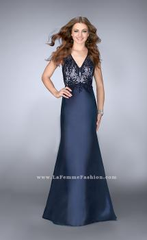 Picture of: Long Cape Prom Dress with Lace Top and V Neckline in Blue, Style: 24492, Main Picture