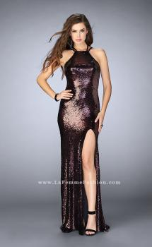 Picture of: Fitted Sequin Dress with a Strappy Back and Slit in Black, Style: 24497, Main Picture