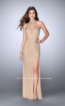 Picture of: High Neck Beaded Dress with Keyhole and Open Back in Nude, Style: 24499, Main Picture