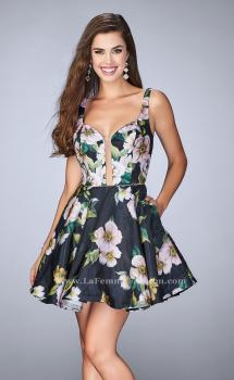 Picture of: Short Floral Dress with a Deep Neckline and Pockets, Style: 24500, Main Picture