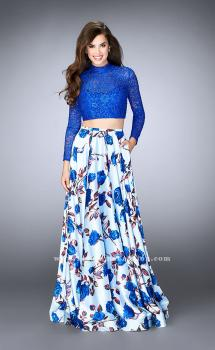 Picture of: Floral Two Piece Prom Dress with Long Sleeve Lace Top in Blue, Style: 24507, Main Picture